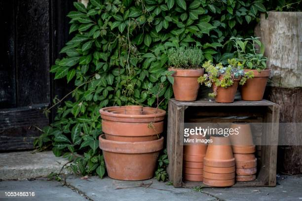 close up of stacks of terracotta flower pots on a stone floor and wooden box. - flower pot stock pictures, royalty-free photos & images