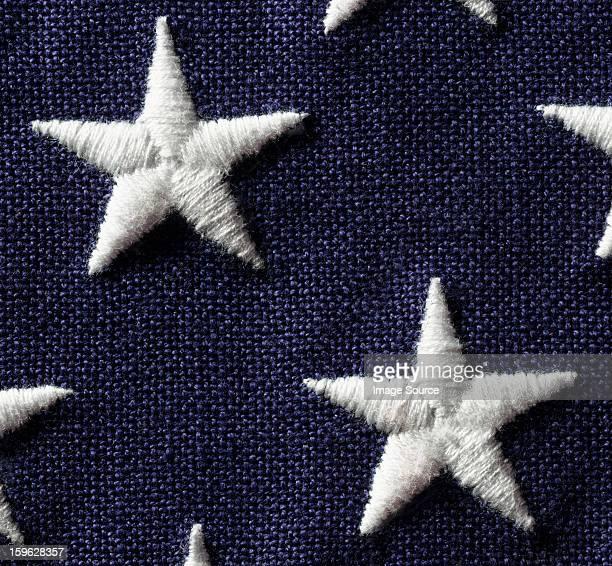 Close up of stars on US flag