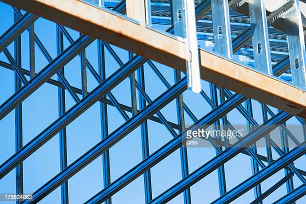 Close up of steel girders on construction frame