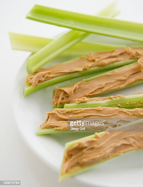 Close up of stems with almond butter