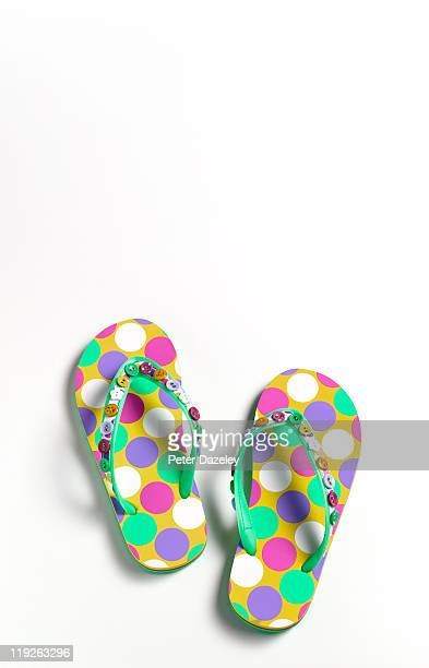 Close up of summer flip-flops with copy space