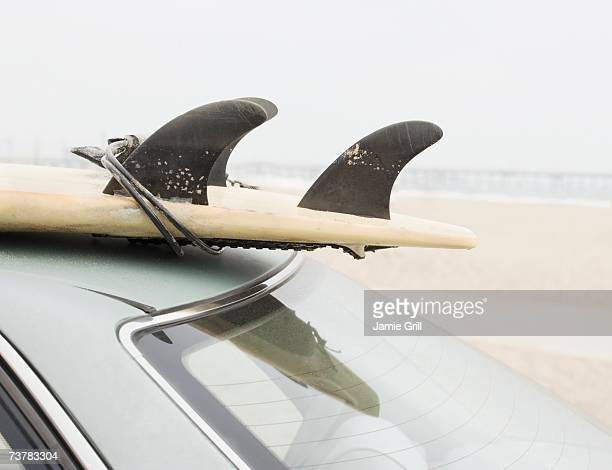 close up of surfboard on top of car at beach - endopack stock pictures, royalty-free photos & images