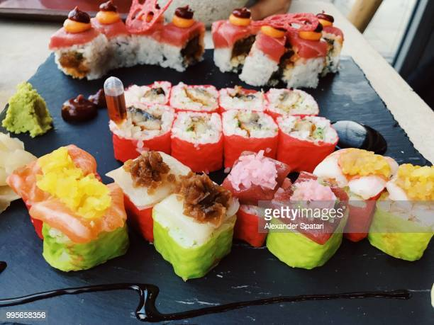 Close up of sushi rolls in a luxury Japanese restaurant