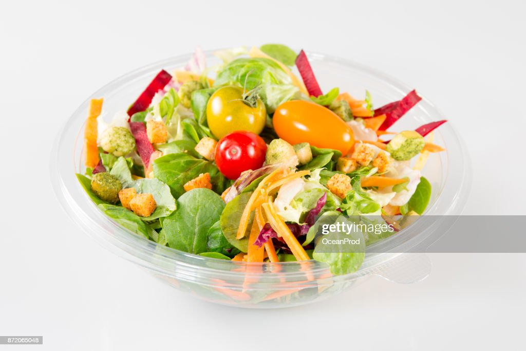 Close up of take away bowl with fast food salad : Stock Photo