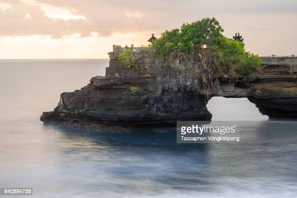 close up of tanah lot temple in bali, indonesia - tanah lot stock pictures, royalty-free photos & images