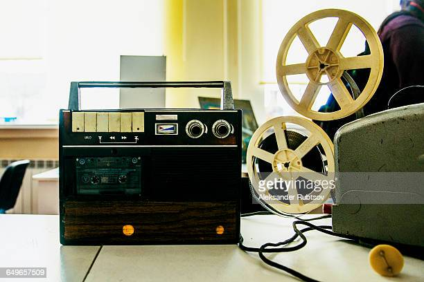 Close up of tape player and recorder