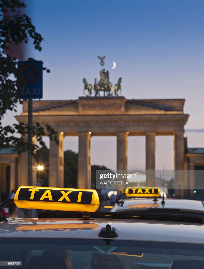 Close up of taxi signs on cabs : Stock Photo