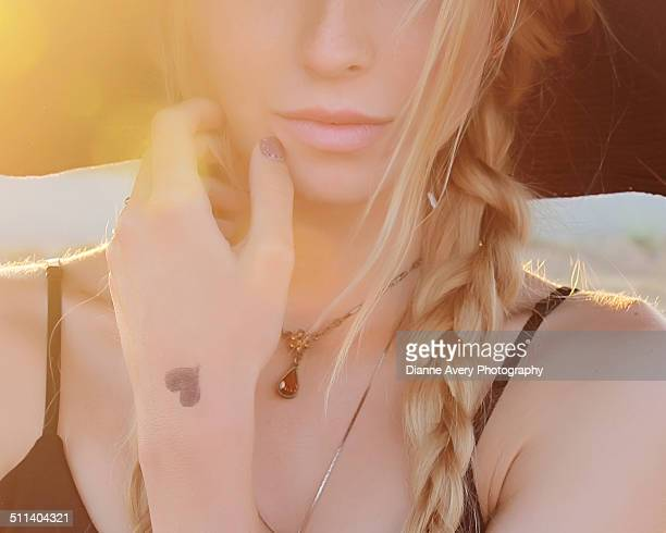 Close up of teen blond girl  with braid