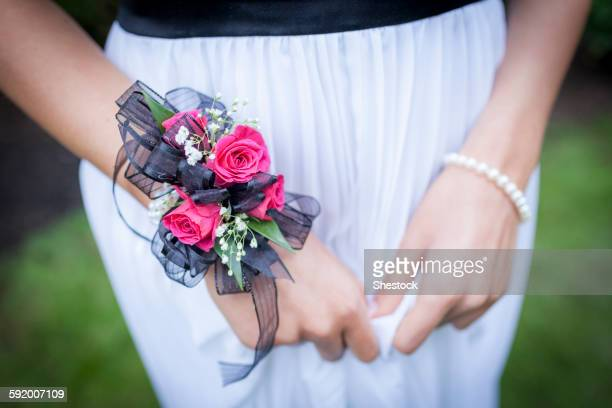 close up of teenage girl in prom attire wearing corsage - prom stock pictures, royalty-free photos & images