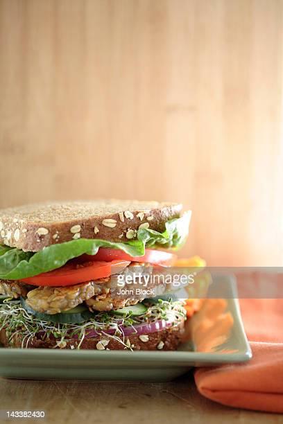 close up of tempeh soy sandwich - テンペ ストックフォトと画像