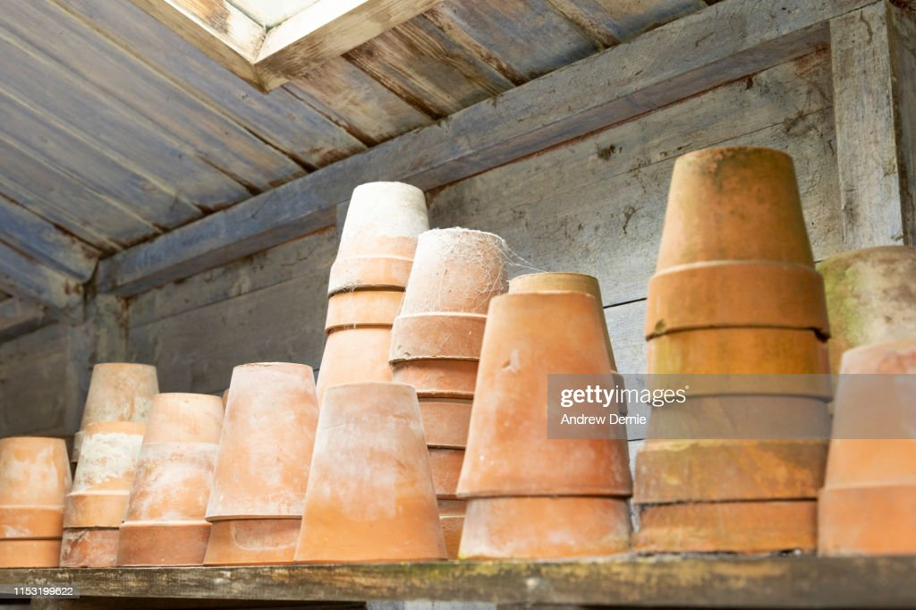 Close up of terracotta plant pots : Stock Photo