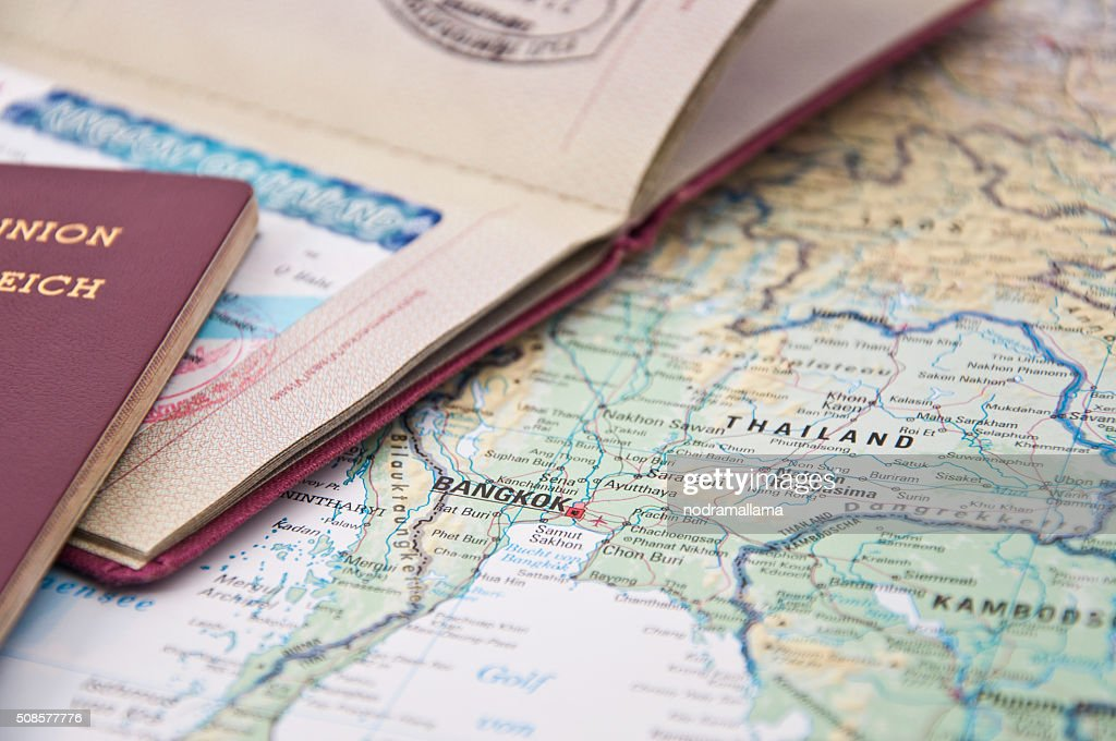 Close Up of Thailand Visum, Passport and Thailand Map : Stock Photo