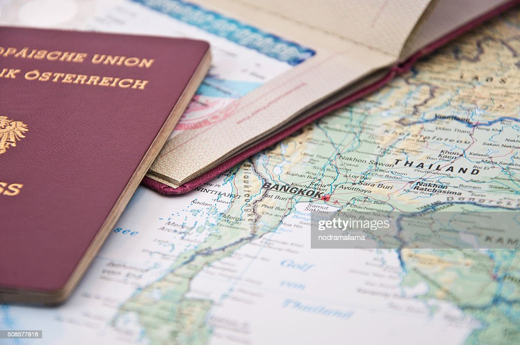 Close Up of Thailand Visum, Passport and Thailand Map : Stock Photo