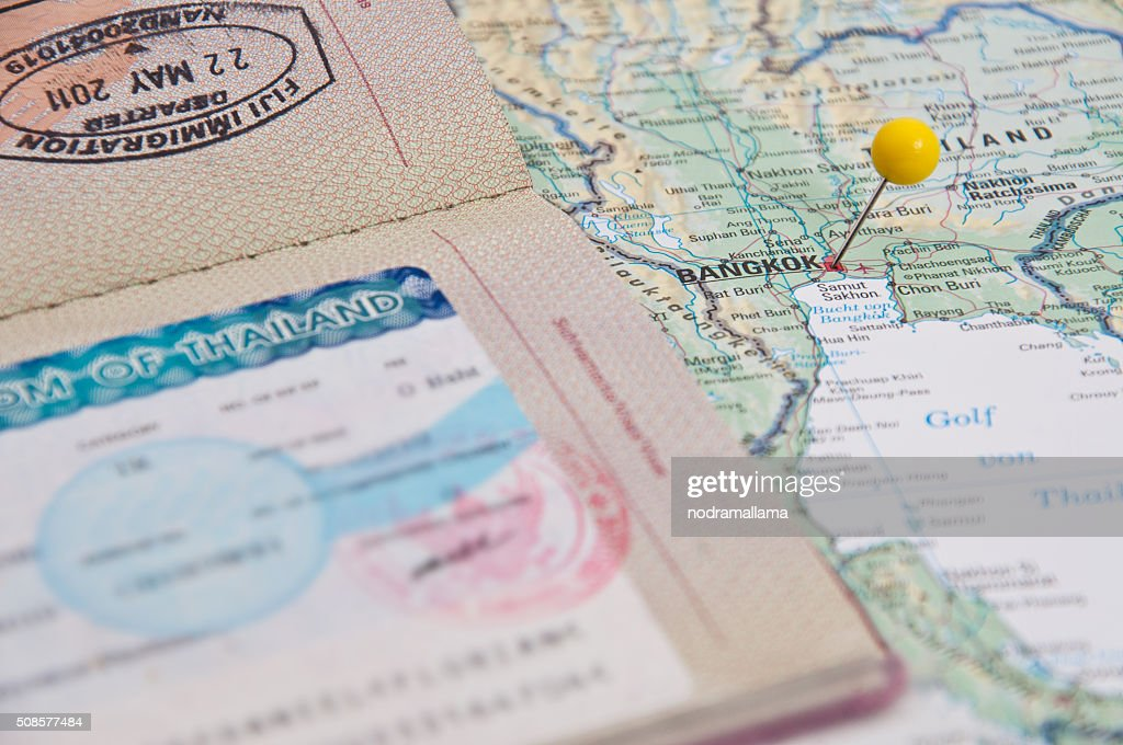 Close Up of Thailand Visum, Passport, Pin and Thailand Map. : Stock Photo