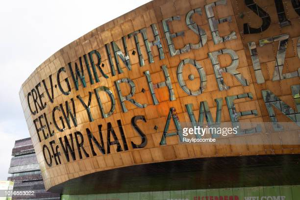 close up of the 2 meter high lettering of the millennium centre. it was built to celebrate the diversity of welsh culture. - south wales stock pictures, royalty-free photos & images