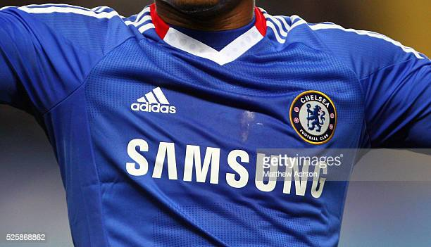 Close up of the Adidas Chelsea shirt with sponsor Samsung and Chelsea club badge