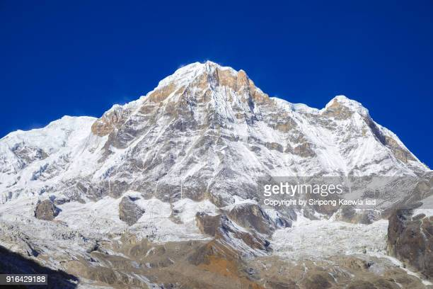 close up of the annapurna south and hinchuli peak from the annapurna base camp, nepal. - copyright by siripong kaewla iad stock photos and pictures
