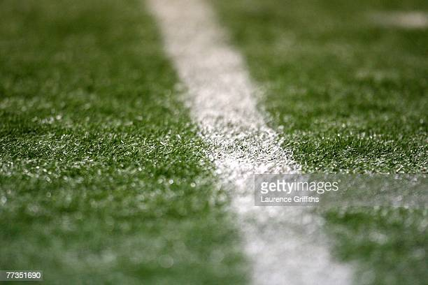A close up of the artificial surface during a training session at the Luzhniki Stadium on October16 2007 in Moscow Russia