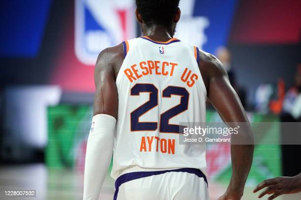 A close up of the back of the jersey of Deandre Ayton of the Phoenix Suns during a game against the Philadelphia 76ers on August 11 2020 at Visa...