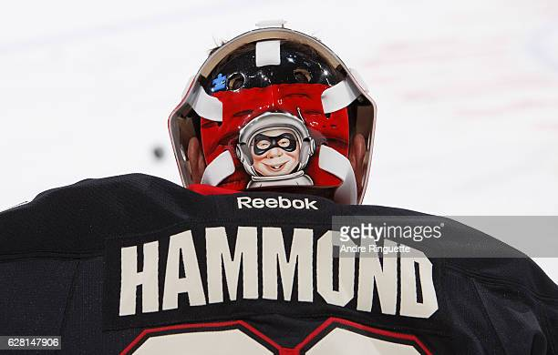 A close up of the back of the mask of Andrew Hammond of the Ottawa Senators prior to a game against the Philadelphia Flyers at Canadian Tire Centre...