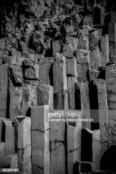 Close up of the Basalt columns at the black sand beach, Iceland.