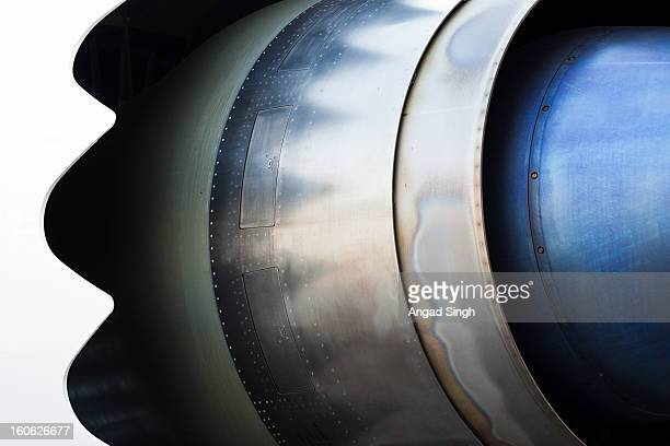 CONTENT] A close up of the Boeing 787 Dreamliner engine the GE GENx The photo shows the pressure relief doors noise reducing chevrons and heat bluing...