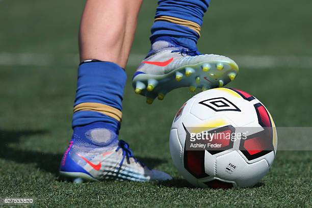 Close up of the boots and ball during the round five WLeague match between the Newcastle Jets and Sydney FC at McDonald Jones Stadium on December 4...