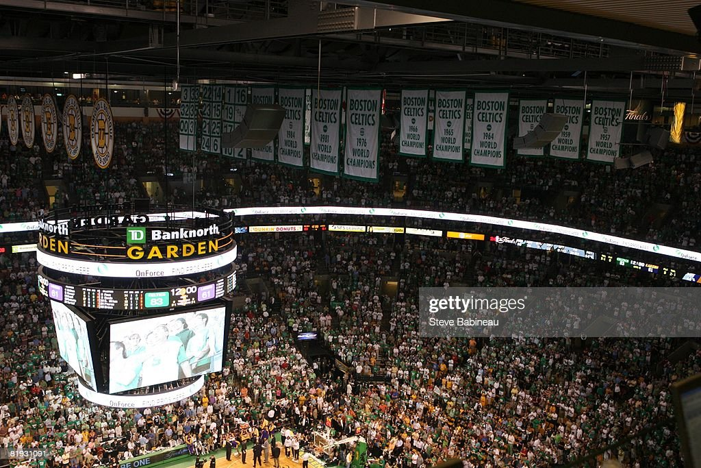A Close Up Of The Boston Celtics Banners That Hang Prior Game Six Of The  2008