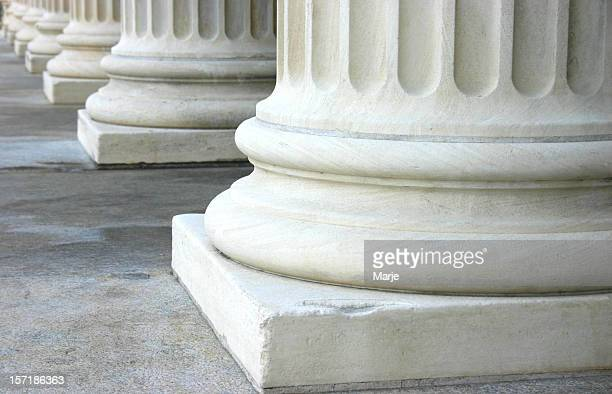 Close up of the bottom of marble columns