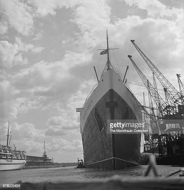 A close up of the bow of the RMS Queen Elizabeth an Ocean Liner operated by the Cunard line docked at Southampton harbour launched on September 27th...