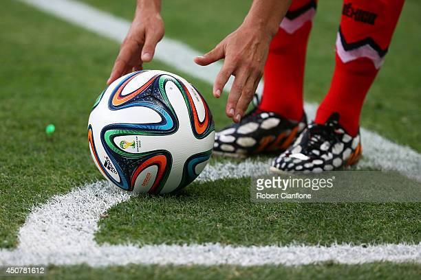 A close up of the ''Brazuca' match ball during the 2014 FIFA World Cup Brazil Group A match between Brazil and Mexico at Castelao on June 17 2014 in...