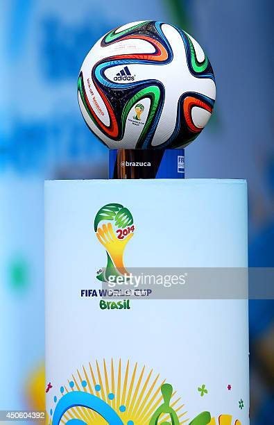 A close up of the Brazuca match ball sitting on a podium before the 2014 FIFA World Cup Brazil Group C match between Colombia and Greece at Estadio...