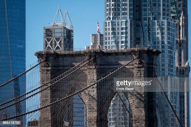 Close up of the Brooklyn Bridge
