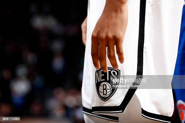 A close up of the Brooklyn Nets logo during a preseason game against the New York Knicks on October 8 2017 at Barclays Center in Brooklyn New York...
