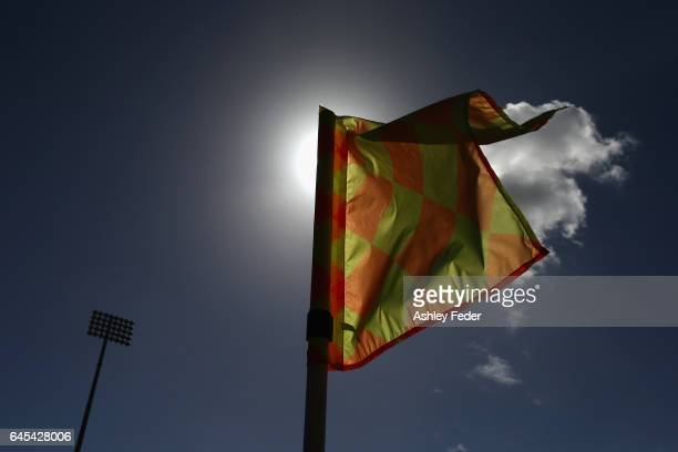 Close up of the corner flag at McDonald Jones Stadium during the round 21 ALeague match between the Newcastle Jets and the Central Coast Mariners at...
