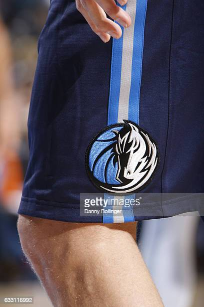 A close up of the Dallas Mavericks logo is seen during the game against the New York Knicks on January 25 2017 at the American Airlines Center in...