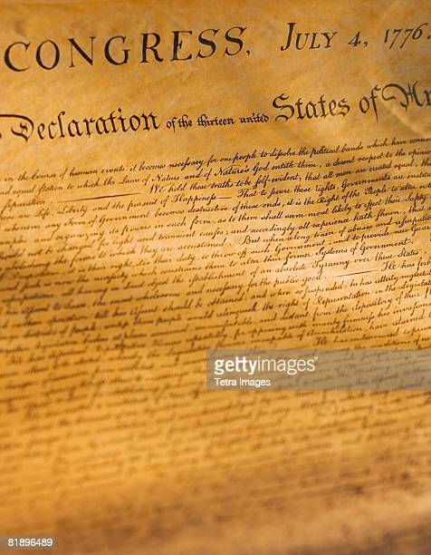 Close up of the Declaration of Independence