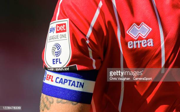 Close up of the EFL Sky Bet League One logo, and an EFL captains armband worn by Lincoln City's Jorge Grant during the Sky Bet League One match...