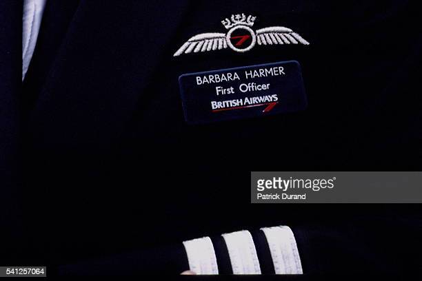 Close up of the embroidered badge on Barbara Harmer's jacket