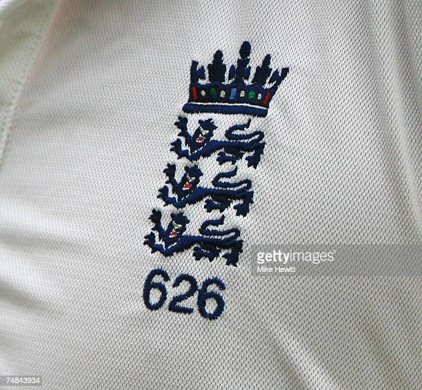 A close up of the England badge showing that Kevin Pietersen is the 626th man to represent England in a test during day five of the Fourth Test match...