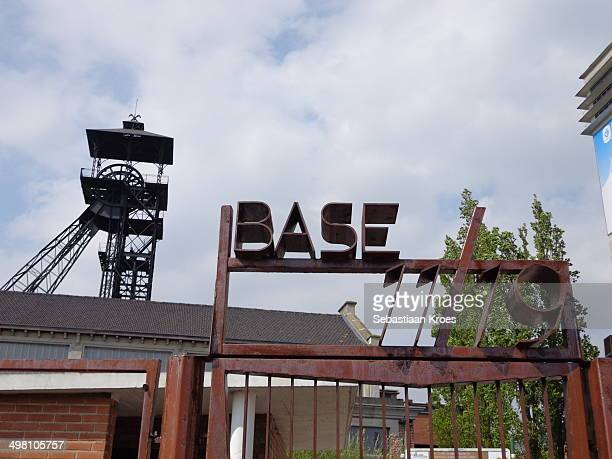 CONTENT] Close up of the entrance of Base 11/19 in LoosenGohelle the old coal mining plant including tower Unesco Nord Pas de Calais France