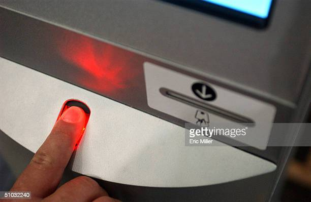 Close up of the finger scanner on the Registered Traveler Verification Kiosk demonstrated by members of the Transportation Security Administration at...