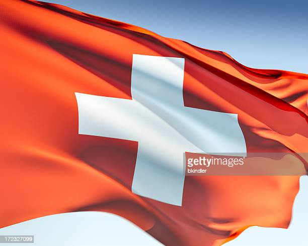 Close up of the flag of Switzerland in the wind