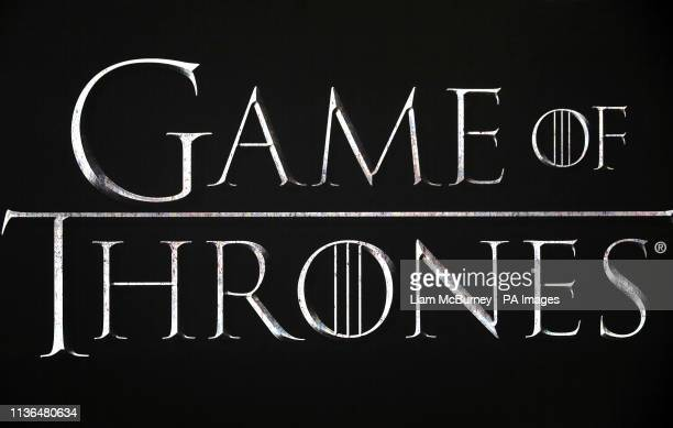 Close up of the Game of Thrones logo at the Game of Thrones Premiere, held at Waterfront Hall, Belfast.