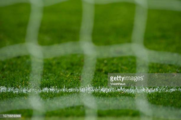 Close up of the goal line before the Premier League match between Manchester City and AFC Bournemouth at Etihad Stadium on December 1, 2018 in...