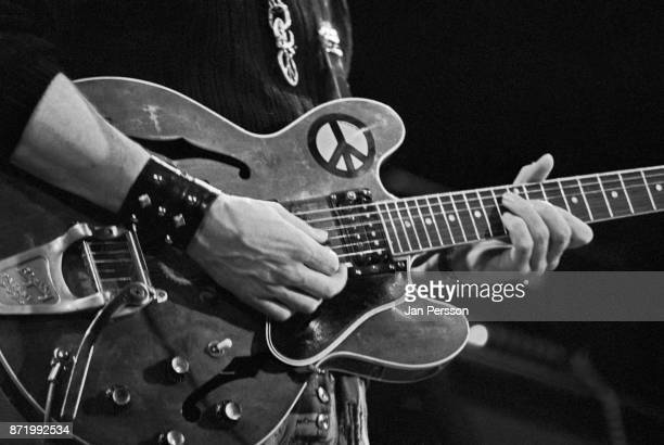 A close up of the guitar of Alvin Lee from Ten Years After performing in Copenhagen Denmark 1969