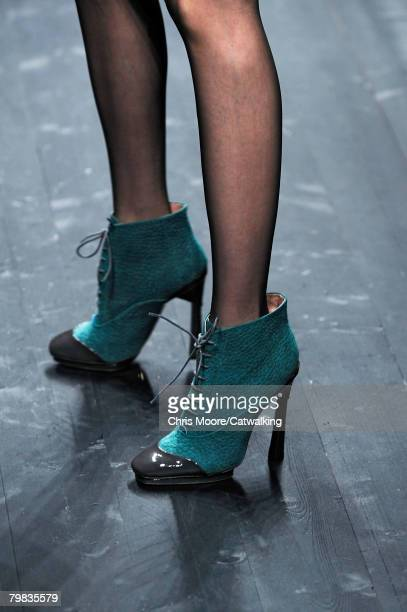 Close up of the High Heels worn by a model walking the runway wearing the Missoni Fall/Winter 2008/2009 collection during Milan Fashion Week on the...