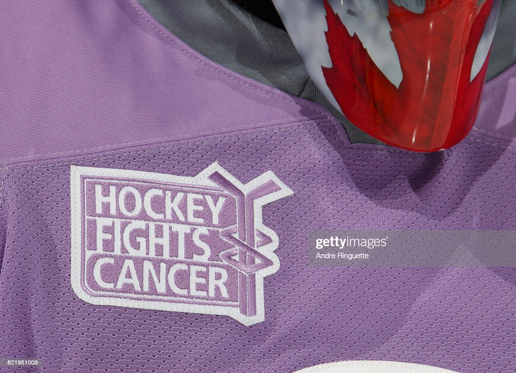 uk availability bcf8a 23cdf A close up of the Hockey Fights Cancer patch on the warmup ...