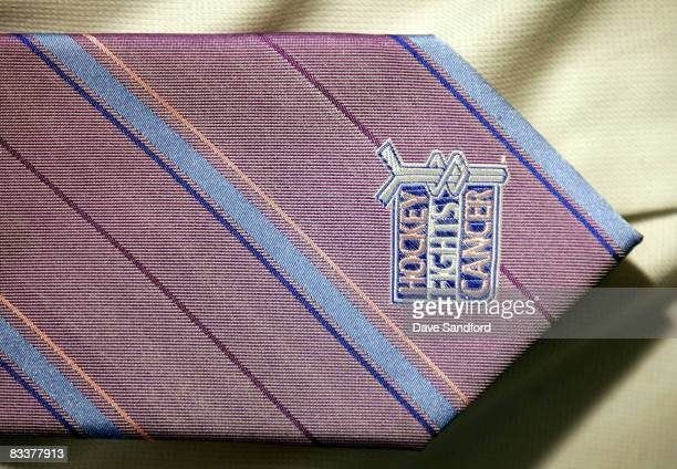 Close up of the Hockey Fights Cancer tie worn as part of pink ribbon night during their NHL game against the Anaheim Ducks at the Air Canada Centre...
