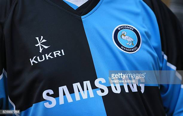 Close up of the home shirt for Wycombe Wanderers 2013/14 sponsored by Samsung